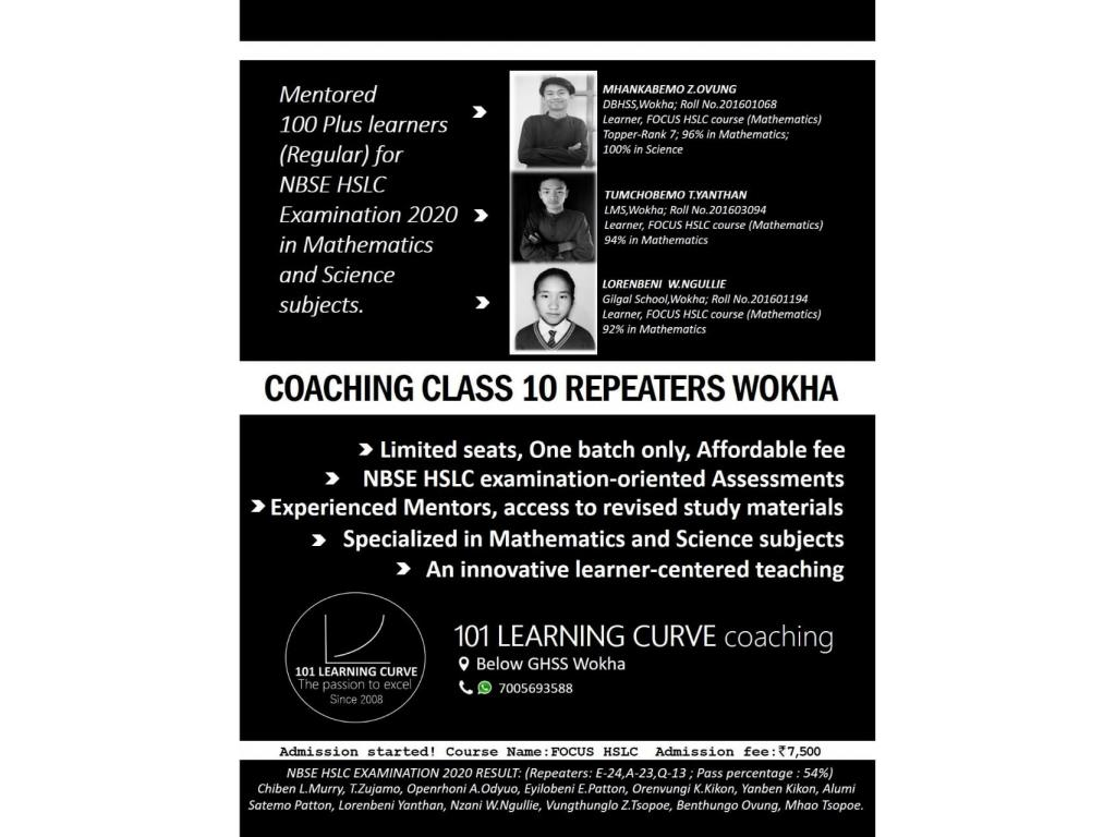Coaching for Class 10 HSLC Repeaters in Wokha