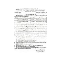 LDA-cum-Computer Assistant Job Vacancies in Nagaland Police Department