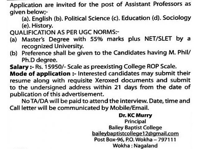Assistant Professor Job Vacancies at Bailey Baptist College Wokha Nagaland