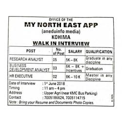HR Executive,Research Analyst, Business Development walk-in interview Kohima