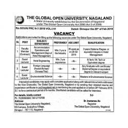 Expired - Guest Lecturer and other job vacancy Global Open University Nagaland