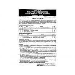 Chairperson and Member posts under Office of the Child Protection Services, Department of Social Wel