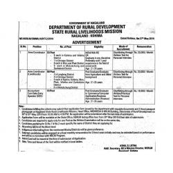 Job Vacancies under Nagaland State Rural Livelihood Mission